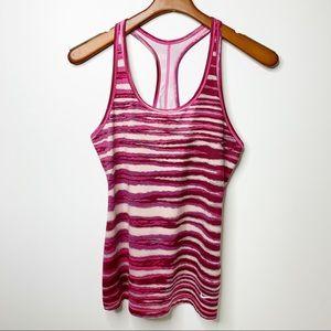 NIKE Pink Striped Slim Fit Athletic Tank Top Sz M